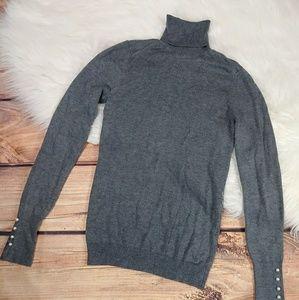 Zara Knit turtleneck sweater lightweight w/pearls
